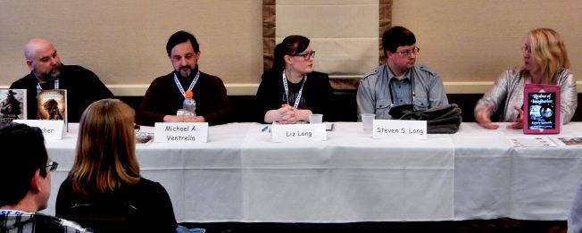 Fantasy World Building, with panelists R.S. Belcher, Michael Ventrella, Liz Long, Steven S. Long, and Gail Z. Martin Photo credit tp J Thomas Ross, with gratitude