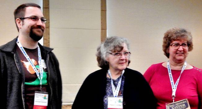 Women in Space   Panelists: Michael Solontoi, Paula S. Jordan, and Kim Headlee        Photo credit to Judy Ross