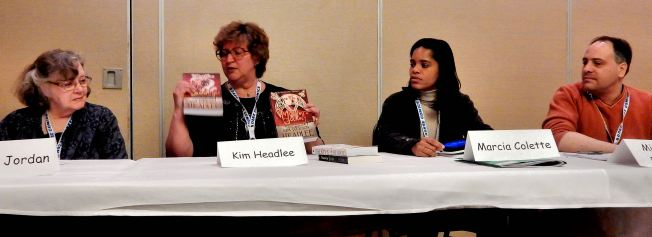 Exposition in Science Fiction and Fantasy With panelists Paula S. Jordan, Kin Headlee, Marcia Colette, and Mike Pederson   Photo credit to Judy Ross